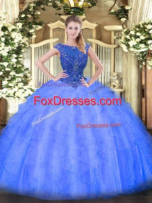 Hot Selling Sleeveless Tulle Floor Length Zipper 15 Quinceanera Dress in Blue with Beading and Ruffles