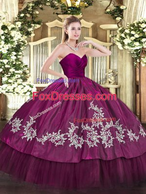 Perfect Fuchsia Ball Gowns Organza and Taffeta Sweetheart Sleeveless Embroidery Floor Length Zipper 15 Quinceanera Dress