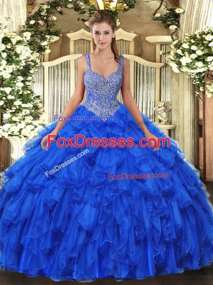 Royal Blue Sleeveless Beading and Ruffles Floor Length Sweet 16 Dresses