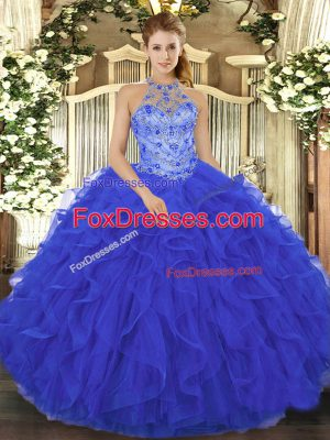 Royal Blue Sleeveless Floor Length Beading and Embroidery and Ruffles Lace Up Quince Ball Gowns