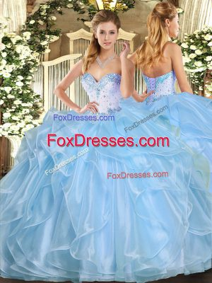 Sweetheart Sleeveless Organza 15 Quinceanera Dress Beading and Ruffles Lace Up