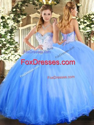 Floor Length Lace Up Vestidos de Quinceanera Baby Blue for Military Ball and Sweet 16 and Quinceanera with Beading