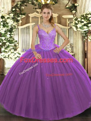 Attractive Floor Length Purple Ball Gown Prom Dress Tulle Sleeveless Beading