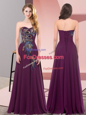 Popular Chiffon Sleeveless Floor Length Evening Dress and Embroidery