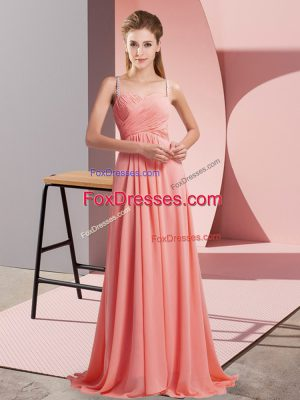 Perfect Watermelon Red Empire Spaghetti Straps Sleeveless Chiffon Sweep Train Backless Ruching Dress for Prom