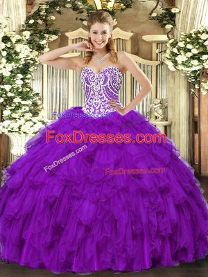 Suitable Purple Lace Up Quinceanera Dresses Beading and Ruffles Sleeveless Floor Length