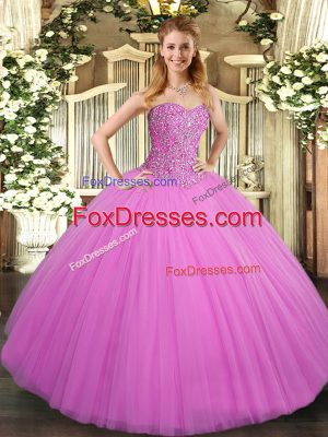 Ball Gowns Ball Gown Prom Dress Lilac Sweetheart Tulle Sleeveless Floor Length Lace Up