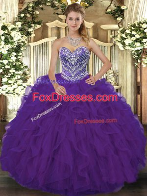 Elegant Purple Sleeveless Lace Lace Up Quinceanera Dresses for Military Ball and Sweet 16 and Quinceanera