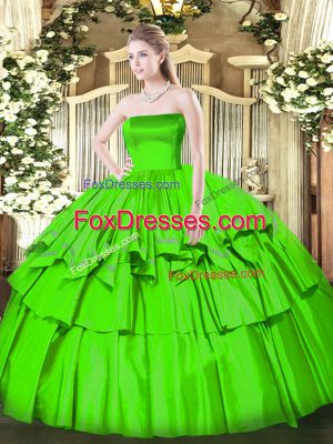 Eye-catching Ball Gowns Strapless Sleeveless Organza and Taffeta Floor Length Zipper Ruffled Layers 15th Birthday Dress
