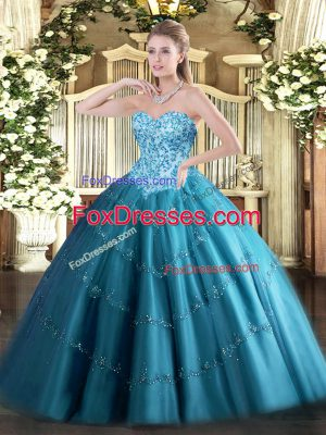 Teal Tulle Lace Up Sweetheart Sleeveless Floor Length 15 Quinceanera Dress Appliques