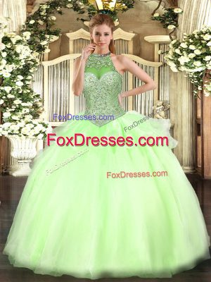 Shining Yellow Green Sleeveless Beading Floor Length Quinceanera Dresses