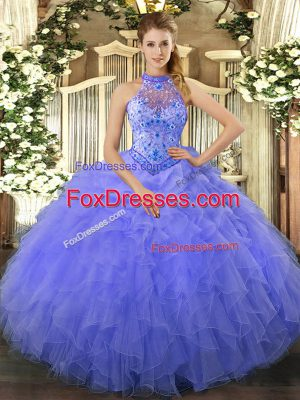 Lovely Floor Length Ball Gowns Sleeveless Blue Quinceanera Gown Lace Up