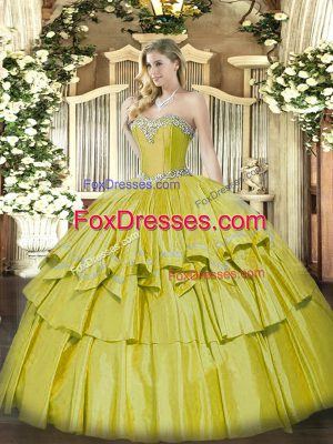Stylish Sleeveless Lace Up Floor Length Beading and Ruffled Layers Sweet 16 Quinceanera Dress