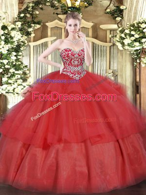 Red Sleeveless Floor Length Beading and Ruffled Layers Lace Up Quinceanera Gowns
