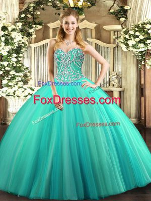 Free and Easy Ball Gowns Quinceanera Gown Aqua Blue Sweetheart Tulle Sleeveless Floor Length Lace Up