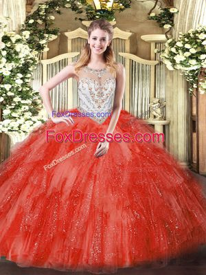 Coral Red Zipper Scoop Beading and Ruffles Quinceanera Gowns Tulle Sleeveless