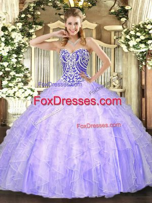 Classical Sleeveless Beading and Ruffles Lace Up Quince Ball Gowns