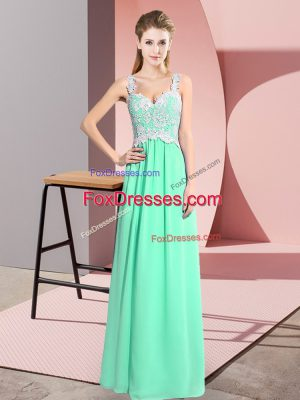 Sleeveless Floor Length Lace Zipper Prom Party Dress with Apple Green