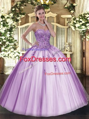 Glamorous Lavender Ball Gowns Beading Quince Ball Gowns Lace Up Tulle Sleeveless Floor Length