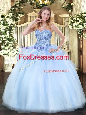 Appliques 15 Quinceanera Dress Light Blue Lace Up Sleeveless Floor Length