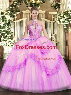 Delicate Lilac Quinceanera Dress Military Ball and Sweet 16 and Quinceanera with Appliques and Sequins Halter Top Sleeveless Lace Up