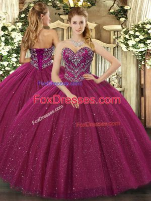 Sweetheart Sleeveless Sweet 16 Dresses Floor Length Beading Fuchsia Tulle