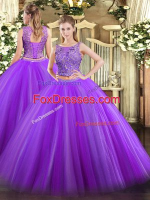Eggplant Purple Tulle Lace Up Scoop Sleeveless Floor Length 15 Quinceanera Dress Beading