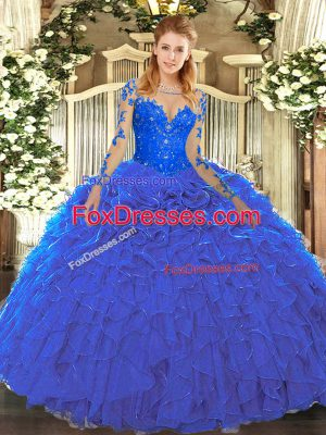 Adorable Blue Ball Gowns Scoop Long Sleeves Organza Floor Length Lace Up Lace and Ruffles Quinceanera Gowns