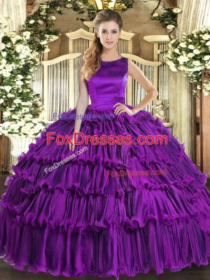 Romantic Eggplant Purple Vestidos de Quinceanera Military Ball and Sweet 16 and Quinceanera with Ruffled Layers Scoop Sleeveless Lace Up