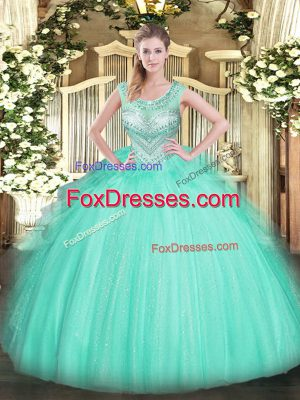 Ball Gowns Ball Gown Prom Dress Apple Green Scoop Tulle Sleeveless Floor Length Lace Up