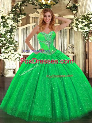 Latest Green Sleeveless Tulle and Sequined Lace Up Sweet 16 Quinceanera Dress for Sweet 16 and Quinceanera