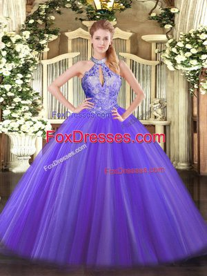 Best Selling Floor Length Lace Up Sweet 16 Quinceanera Dress Purple for Military Ball and Sweet 16 and Quinceanera with Sequins