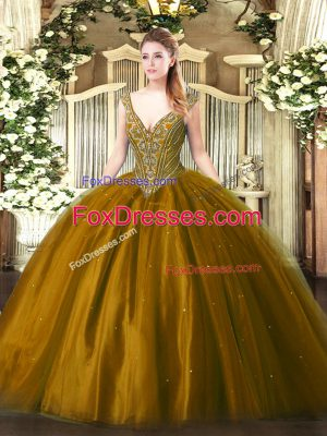 Dazzling Tulle Sleeveless Floor Length Quinceanera Gown and Beading