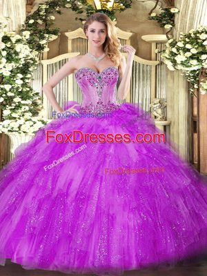 Cheap Fuchsia Ball Gowns Beading and Ruffles 15th Birthday Dress Lace Up Tulle Sleeveless Floor Length