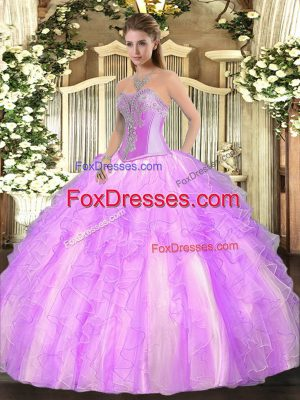 Sweetheart Sleeveless Lace Up Quinceanera Dress Lilac Tulle