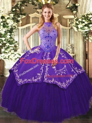 Stunning Floor Length Lace Up Sweet 16 Quinceanera Dress Purple for Sweet 16 and Quinceanera with Beading and Embroidery