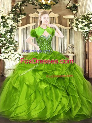 Sweetheart Sleeveless Quince Ball Gowns Floor Length Beading and Ruffles Organza