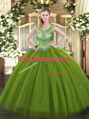 Perfect Olive Green Scoop Neckline Beading Ball Gown Prom Dress Sleeveless Lace Up