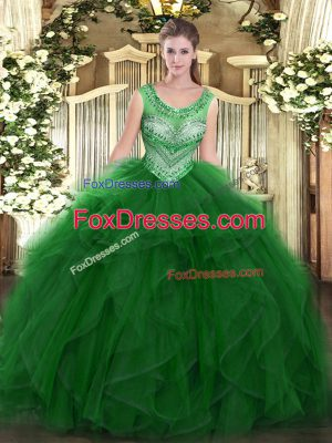 Fantastic Scoop Sleeveless Ball Gown Prom Dress Floor Length Beading and Ruffles Green Organza