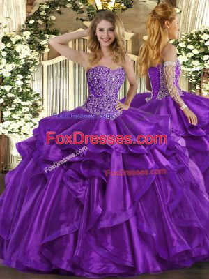 Sleeveless Organza Floor Length Lace Up Quinceanera Dress in Purple with Beading and Ruffles