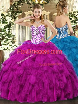 Charming Tulle Sleeveless Floor Length Sweet 16 Dresses and Beading and Ruffles