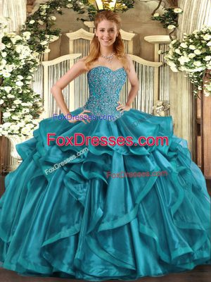 Perfect Teal Sweetheart Neckline Beading and Ruffles 15 Quinceanera Dress Sleeveless Lace Up