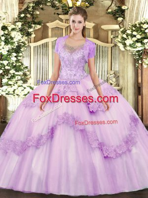 Floor Length Ball Gowns Sleeveless Lilac Quinceanera Dress Clasp Handle