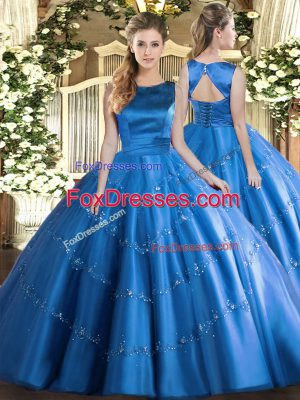 Dazzling Baby Blue Ball Gowns Scoop Sleeveless Tulle Floor Length Lace Up Appliques Quince Ball Gowns