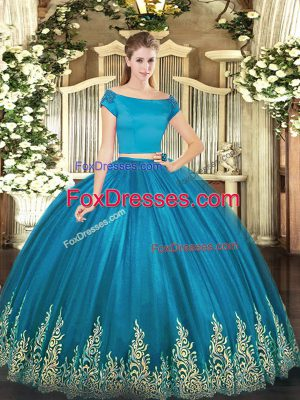 Custom Design Teal Two Pieces Tulle Off The Shoulder Short Sleeves Appliques Floor Length Zipper 15 Quinceanera Dress