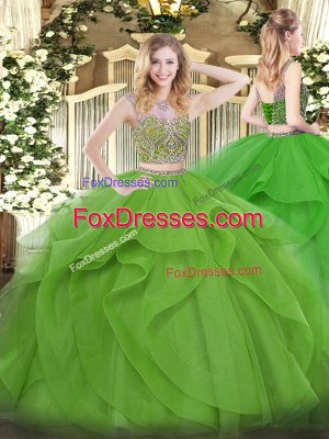 Custom Fit Sleeveless Beading and Ruffles Lace Up 15 Quinceanera Dress