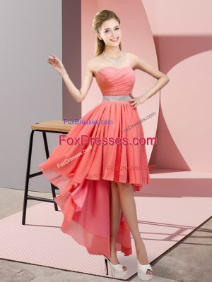 Fine Watermelon Red Sweetheart Lace Up Beading Sleeveless