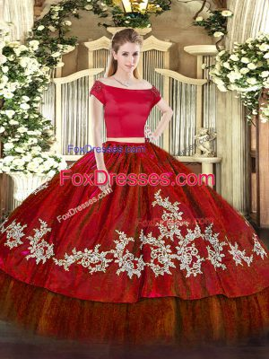 Discount Wine Red Two Pieces Embroidery 15th Birthday Dress Zipper Organza and Taffeta Short Sleeves Floor Length