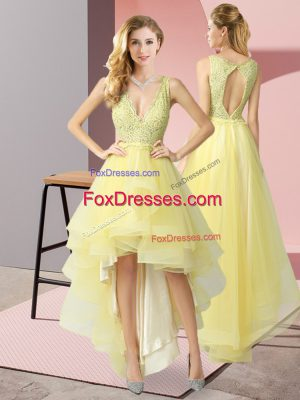 Luxurious Tulle V-neck Sleeveless Backless Beading Prom Evening Gown in Yellow