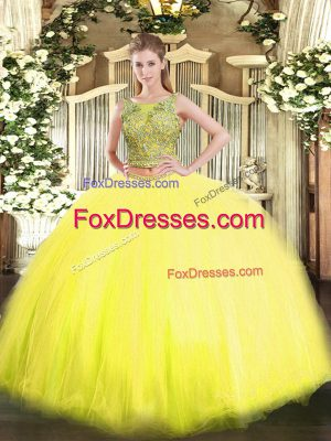 Adorable Floor Length Yellow Quinceanera Dress Scoop Sleeveless Lace Up